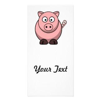 Cute Cartoon Pig Photo Card