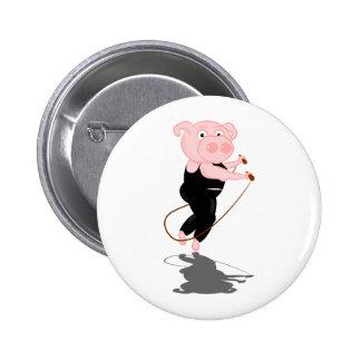 Cute Cartoon Pig Skipping 6 Cm Round Badge