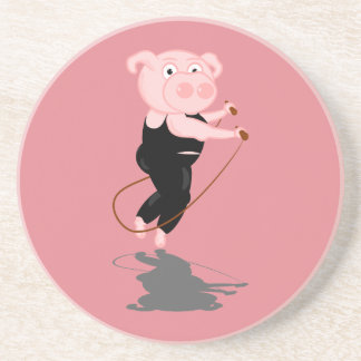 Cute Cartoon Pig Skipping Drink Coaster
