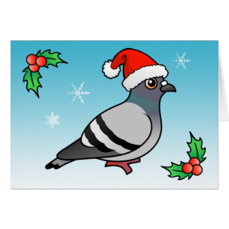 Cute Cartoon Pigeon Santa Greeting Card