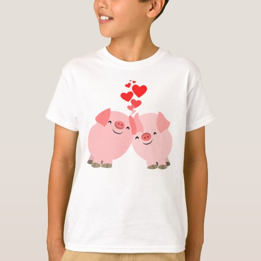 Cute Cartoon Pigs in Love Children T-Shirt