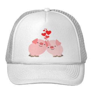Cute Cartoon Pigs in Love Hat