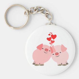 Cute Cartoon Pigs in Love Keychain