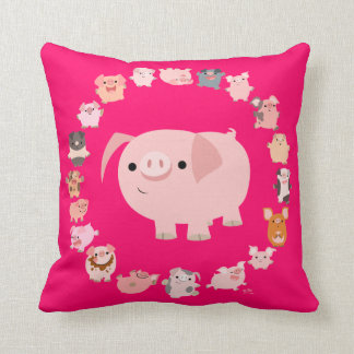 Cute Cartoon Pigs Mandala Pillow Case
