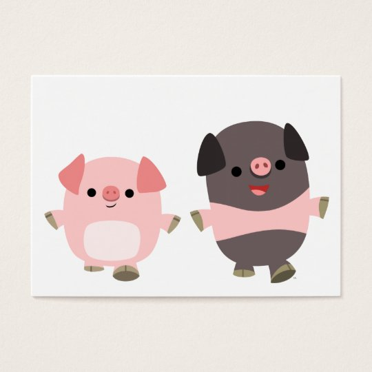 Cute Cartoon Pigs On a Walk ACEO/Business Card