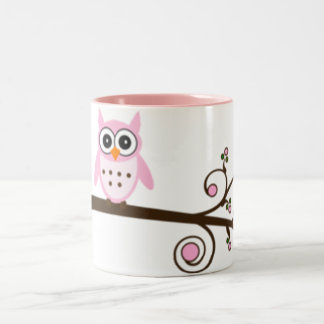 Cute Cartoon Pink Owl Two-Tone Coffee Mug