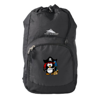 Cute Cartoon Pirate Penguin with Parrot Backpack