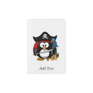 Cute Cartoon Pirate Penguin with Parrot Passport Holder