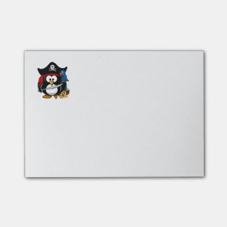 Cute Cartoon Pirate Penguin with Parrot Sticky Note