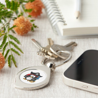 Cute Cartoon Pirate Penguin with Parrot Silver-Colored Swirl Key Ring