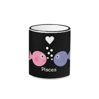 Cute cartoon Pisces black ringer mug