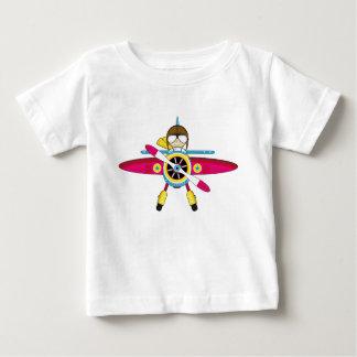 Cute Cartoon Plane and Pilot Baby T-Shirt