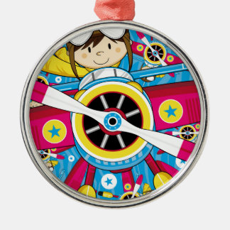 Cute Cartoon Plane & Pilot Pattern Christmas Ornament