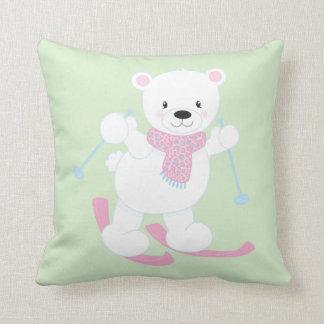 Cute Cartoon Polar Bear on Skis Throw Pillow