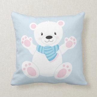 Cute Cartoon Polar Bear w/Blue Scarf Throw Pillow