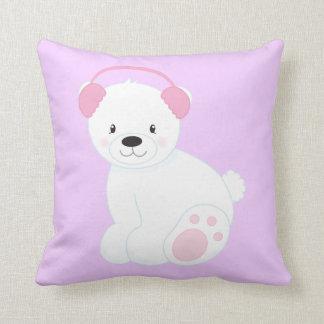 Cute Cartoon Polar Bear Wearing Ear Muffs Throw Pillow