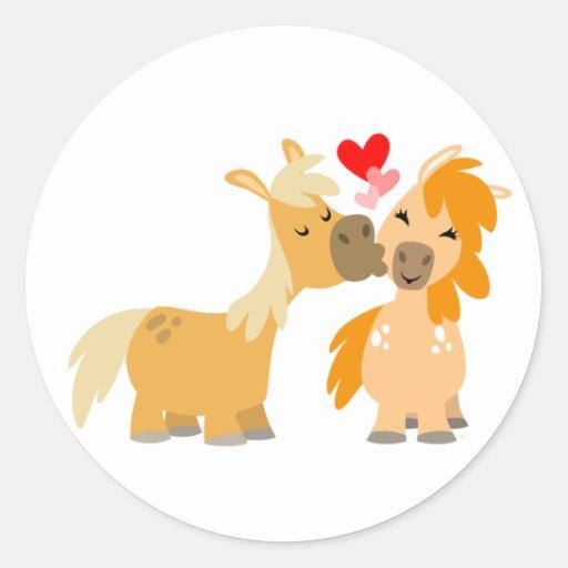 Cute Cartoon Ponies in Love sticker