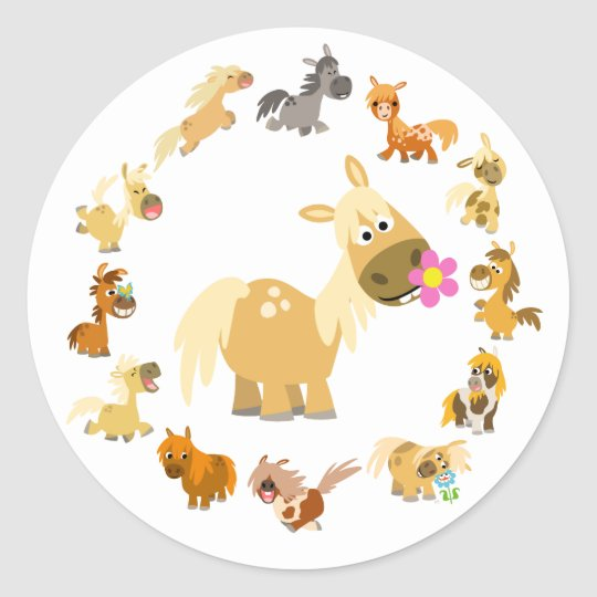 Cute Cartoon Ponies Mandala Sticker