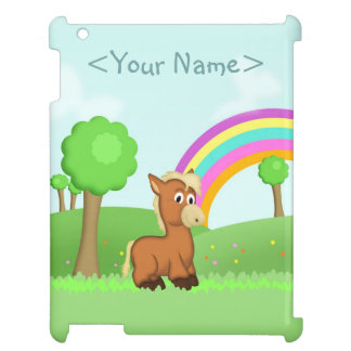 Cute Cartoon Pony Horse in Colorful Field Scene Case For The iPad 2 3 4