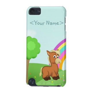 Cute Cartoon Pony Horse in Colorful Field Scene iPod Touch 5G Cases