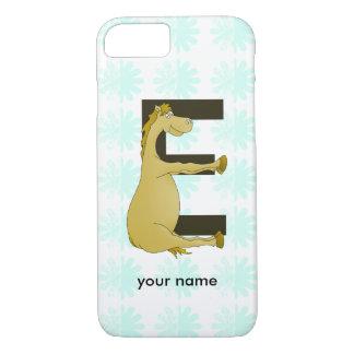 Cute Cartoon Pony Monogram E iPhone 7 Case