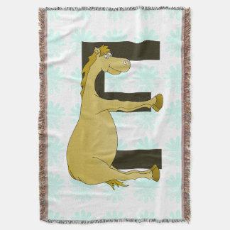 Cute Cartoon Pony Monogram E Throw Blanket