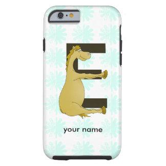 Cute Cartoon Pony Monogram E Tough iPhone 6 Case
