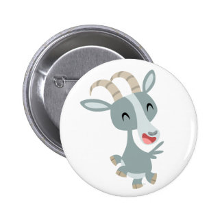 Cute Cartoon Prancing Goat  Button Badge