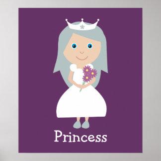 Cute cartoon Princess purple poster