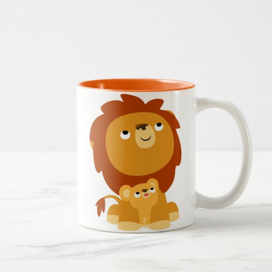 Cute Cartoon Protective Dad Lion and Cub Mug
