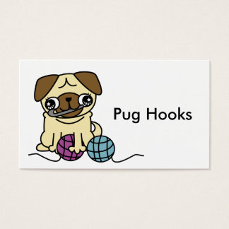 Cute cartoon pug crochet Business Card