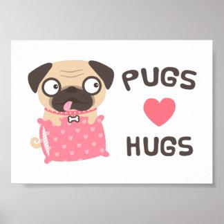 Cute Cartoon Puppy Pugs Love Hugs Wall Decor Poster