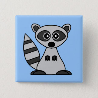 Cute Cartoon Raccoon 15 Cm Square Badge