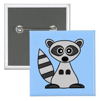 Cute Cartoon Raccoon 15 Cm Square Badge
