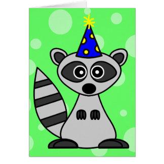 Cute Cartoon Raccoon Birthday Card