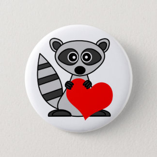 Cute Cartoon Raccoon Holding Heart 6 Cm Round Badge