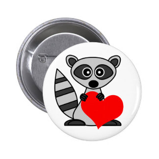 Cute Cartoon Raccoon Holding Heart 6 Cm Round Badge