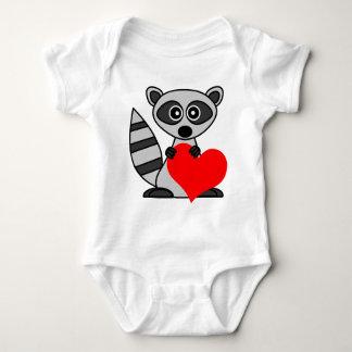 Cute Cartoon Raccoon Holding Heart Baby Bodysuit