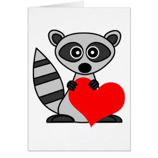 Cute Cartoon Raccoon Holding Heart Card