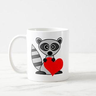 Cute Cartoon Raccoon Holding Heart Coffee Mug
