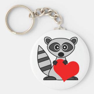 Cute Cartoon Raccoon Holding Heart Key Ring