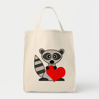 Cute Cartoon Raccoon Holding Heart Grocery Tote Bag