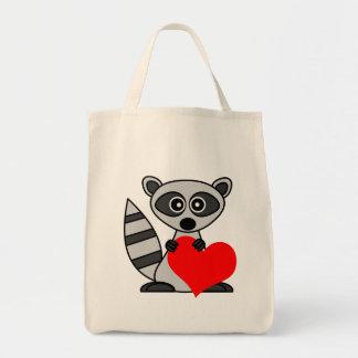 Cute Cartoon Raccoon Holding Heart Tote Bag