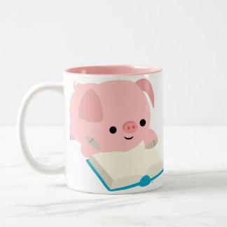 Cute Cartoon Reading Piglet Mug