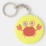 Cute Cartoon Red Crab with Bubbles Background Keychains