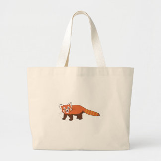 Cute Cartoon Red Panda Sticking Out Tongue Canvas Bags
