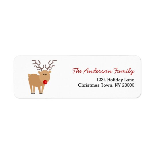 Cute Cartoon Reindeer Christmas Address Label