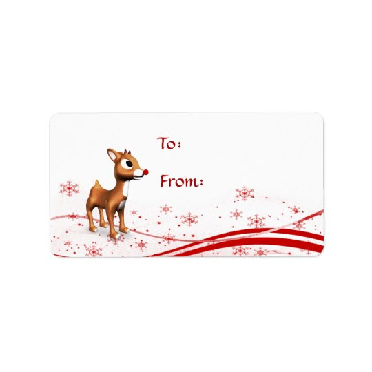 Cute Cartoon Reindeer Christmas Gift Tags Address Label