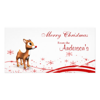 Cute Cartoon Reindeer Christmas Gift Tags Photo Greeting Card