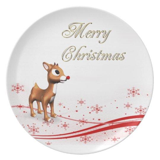 Cute Cartoon Reindeer Christmas Plate